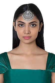 Silver Plated Faux Diamond & Pearl Maang Tikka by Aster