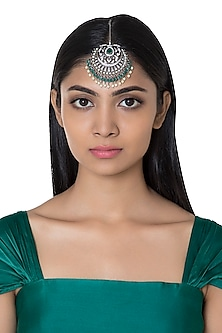 Silver Plated Faux Diamond & Green Pearl Maang Tikka by Aster