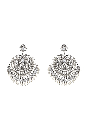 Silver Plated Faux Diamond & White Pearl Earrings by Aster