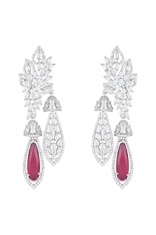Silver Plated Faux Diamond & Ruby Earrings by Aster