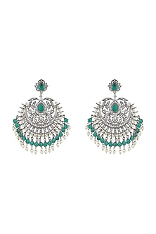 Silver Plated Faux Diamond & Green Pearls Dangler Earrings by Aster