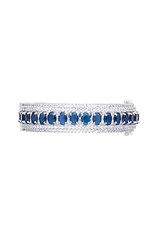 White gold plated sapphire and zircon bangle by Aster
