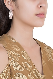 Rose Gold Plated Faux Diamonds Earrings by Aster