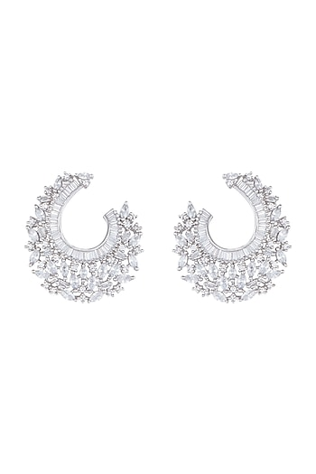 Silver Plated Faux Diamonds Hoop Earrings by Aster