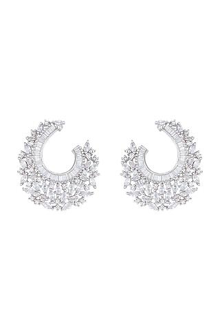 Silver Plated Faux Diamonds Hoop Earrings by Aster