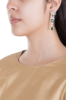 White Rhodium Plated Faux Diamond & Emerald Long Earrings by Aster