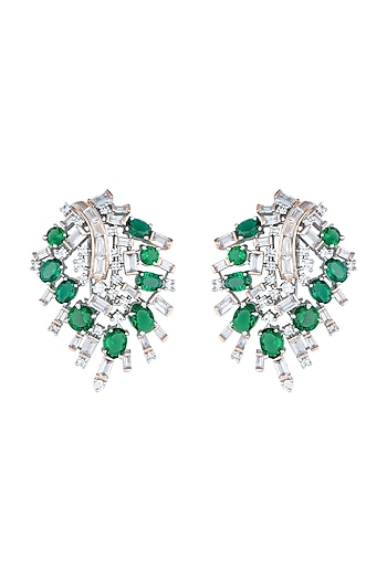 White Rhodium Plated Baguettes, Faux Diamond & Emerald Earrings by Aster