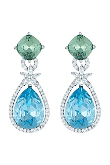 White Rhodium Plated Faux Diamond & Topaz Earrings by Aster