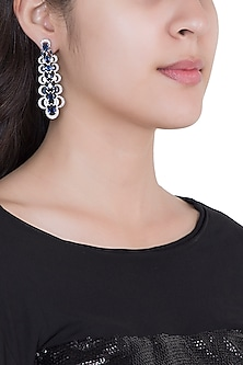 White Rhodium Plated Faux Sapphire & Diamond Dangler Earrings by Aster