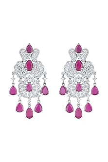 White Rhodium Plated Faux Diamond & Ruby Long Earrings by Aster