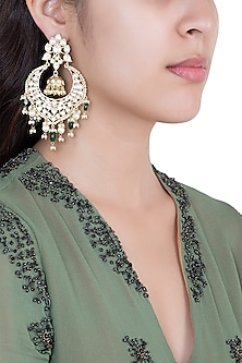 Gold Plated Faux Kundan & Green Pearl Earrings by Aster