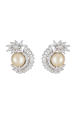 Silver Plated Faux Pearl & Diamond Earrings by Aster