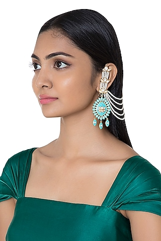 Gold Plated Reversible Faux Pearl Earrings by Aster