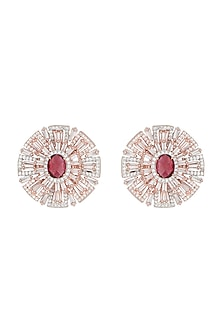 Rose gold plated faux zircon and ruby stud earrings by Aster