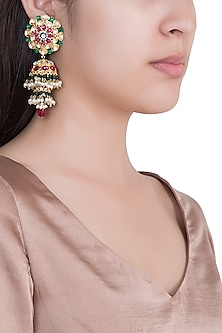 Gold Plated Faux Pearl Jhumka Earrings by Aster