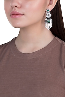White gold plated faux diamond and emerald earrings by Aster