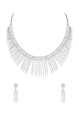 White gold plated diamond pave necklace set by Aster