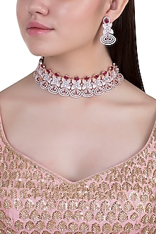Rose gold plated faux diamond and ruby necklace set by Aster