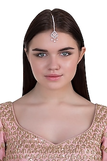 Rose gold plated faux diamond maangtika by Aster