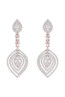 Rose gold plated faux diamond long earrings by Aster