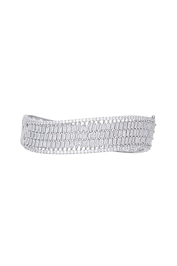 White gold plated baguette bangle by Aster