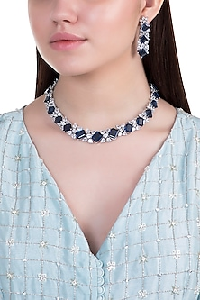 White rhodium plated sapphire and zircon necklace set by Aster