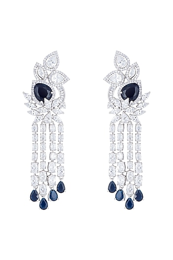 Silver plated faux diamond and sapphire long earrings by Aster