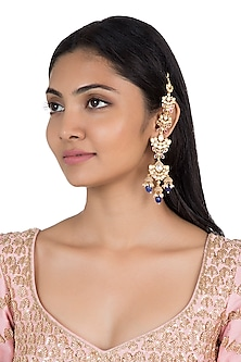 Silver plated faux kundan and blue stone earrings by Aster