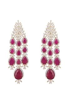 Silver plated faux diamond and ruby earrings by Aster-POPULAR PRODUCTS AT STORE