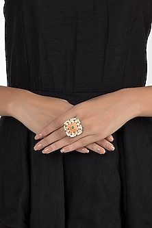 Gold plated faux diamond and pearl ring by Aster