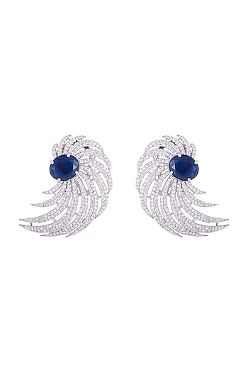 Silver plated faux diamond and sapphire stud earrings by Aster