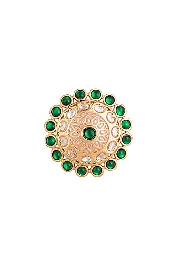 Gold plated faux kundan ring by Aster