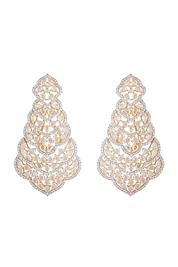 Gold plated faux diamond long earrings by Aster