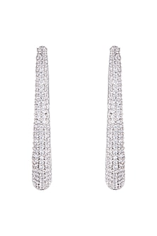 Silver plated faux diamond hoop earrings by Aster