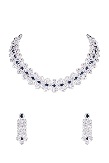 Silver plated faux diamond and sapphire necklace set by Aster