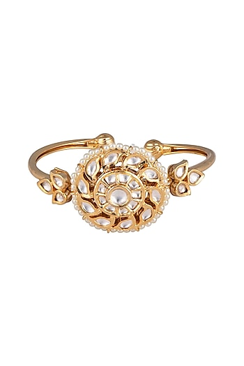 Gold plated faux kundan bracelet by Aster