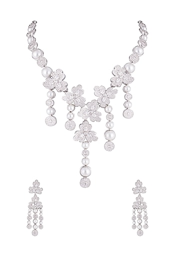 Silver plated faux diamond long necklace set by Aster