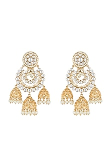 Gold plated faux kundan long chandbali earrings by Aster