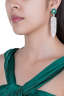 Silver plated faux diamond and emerald earrings by Aster