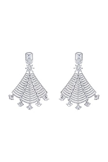 Silver plated faux diamond fan earrings by Aster