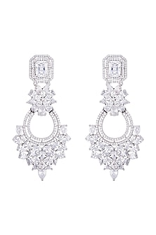 Silver plated faux diamond chandelier earrings by Aster