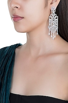 Silver plated faux diamond chandelier earrings by Aster