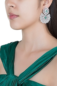 Silver plated faux diamond and emerald floral earrings by Aster