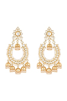 Gold plated faux kundan chandbali earrings by Aster-POPULAR PRODUCTS AT STORE