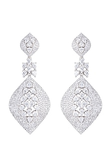 Silver plated faux diamond dangler earrings by Aster