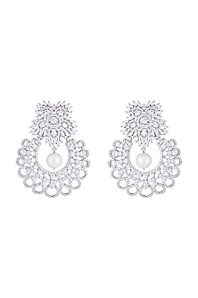 Silver plated faux diamond floral earrings by Aster