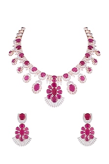 Silver plated faux diamond and ruby necklace set by Aster