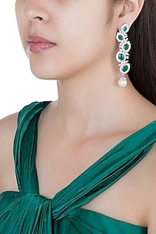 Silver plated faux diamond and emerald dangler earrings by Aster