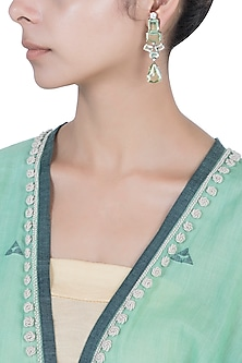 Silver plated green stone earrings by Aster