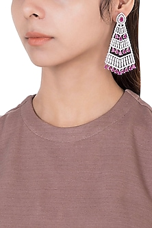 Silver plated faux diamond and ruby earrings by Aster